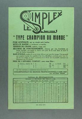 Pamphlet - 'Le Simplex  Type Champion du Monde' - Parts Specifications, cycling