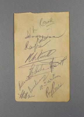 Autograph sheet from Brown vs The Press cricket match, c1930s