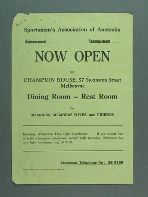 Leaflet, advertising Sportsmen's Association of Australia at Champion House