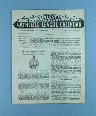 Victorian Athletic League Calendar, March 1931