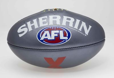 Silver Sherrin Australian football, used during the first four games of the inaugural AFL-X competition, February 2018.; Sporting equipment; N2018.23