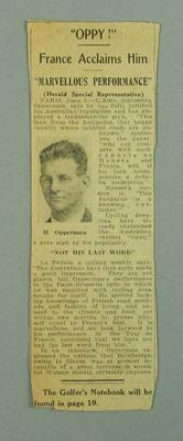 Newspaper clipping from 'The Herald' re Hubert Opperman cycling in Paris c. 1928; Documents and books; 1986.1089.1