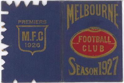Melbourne Football Club membership card, 1927