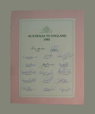 """""""Australia to England 1985"""" Australian XI with player's names and autographs"""