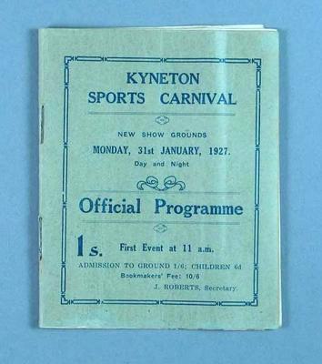 Programme for Kyneton Sports Carnival, 1927