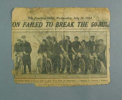"""Newspaper clipping, """"...FAILED TO BREAK THE 50- MILE..."""""""