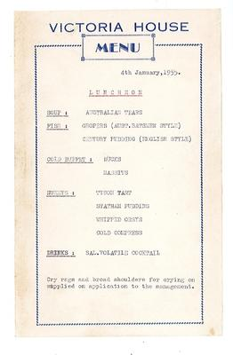 Victoria House menu inspired by the Ashes, 4th January 1955