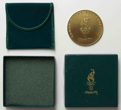 Participation medal for Atlanta 1996, presented to Australian team physiotherapist Wendy Braybon; Civic mementoes; 2019.1.4