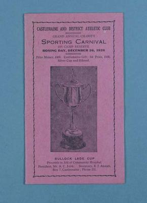 Programme for Castlemaine and District Athletic Club Sporting Carnival, 1928