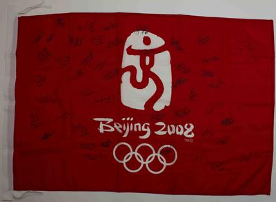 Beijing 2008 Olympic Games flag signed by Australian athletes; Flags and signage; 2019.1.10