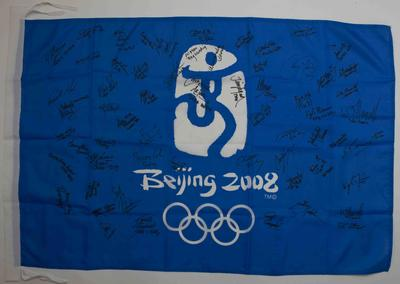 Beijing 2008 Olympic Games flag signed by Australian athletes