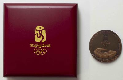Participation medal for Beijing 2008, presented to Australian team physiotherapist Wendy Braybon
