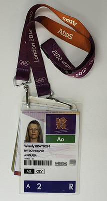 London 2012 medical personnel access pass, issued to team physiotherapist Wendy Braybon