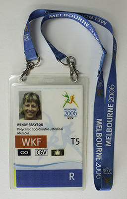 Melbourne 2006 medical personnel access pass, issued to team physiotherapist Wendy Braybon.