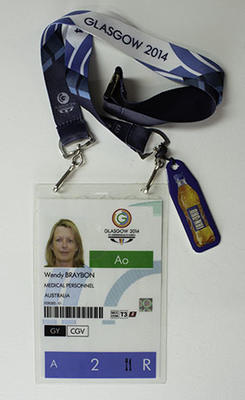 Glasgow 2014 medical personnel access pass, issued to Wendy Braybon