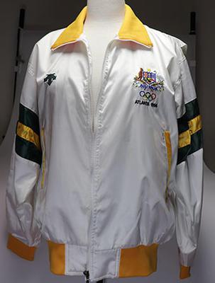 Australian Olympic softball team bomber jacket, worn by Wendy Braybon during Atlanta 1996 Olympic Games.