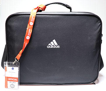 Physiotherapy kit bag and access pass used by team physiotherapist Wendy Braybon at the 2014 Australian Gymnastics Championships