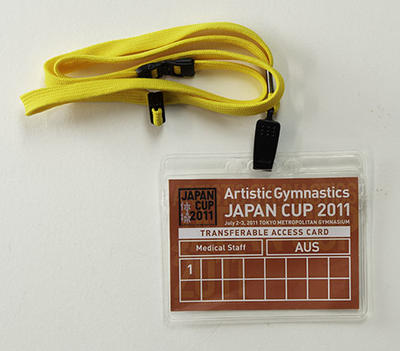 Access pass issued to physiotherapist Wendy Braybon for the 2011 Artistic Gymnastics Japan Cup