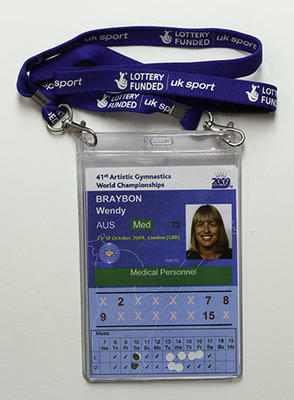 Access passes issued to physiotherapist Wendy Braybon for the 41st Artistic Gymnastics World Championships, 2009
