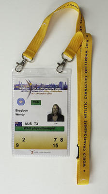 Access pass issued to physiotherapist Wendy Braybon for the 42nd Artistic Gymnastics World Championships, 2010