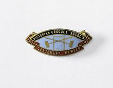 Victorian Croquet Association member badge, 1934-35.