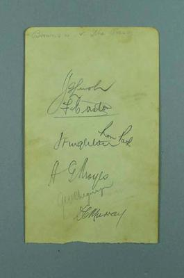 Autograph sheet from Brown's XI vs The Press cricket match, c 1930s