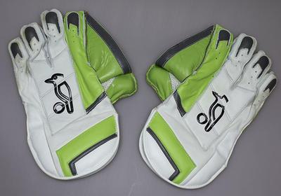 Wicket-keeping gloves worn by Alyssa Healy at the 2018 ICC Women's World Twenty20