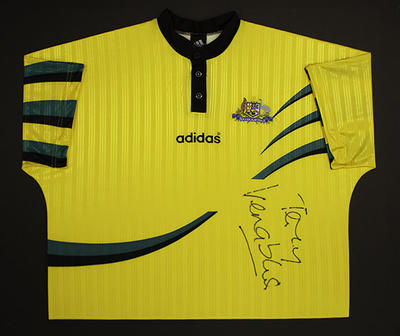 Signed shirt and promotional poster, 1998 FIFA World Cup Qualifier
