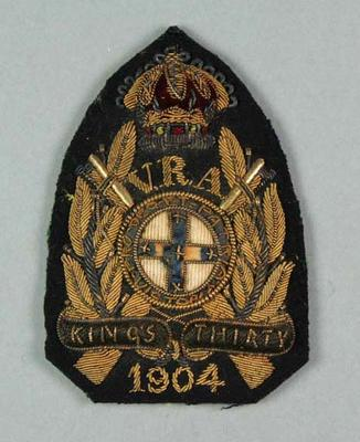 Bullion badge awarded to W Williams, VRA King's Thirty 1904