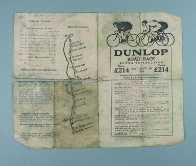Pamphlet - Dunlop Road Race - Burra-Adelaide Race 29 September 1923