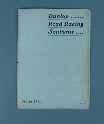 Leaflet - Dunlop Road Racing Souvenir, Season 1911 with athlete portraits