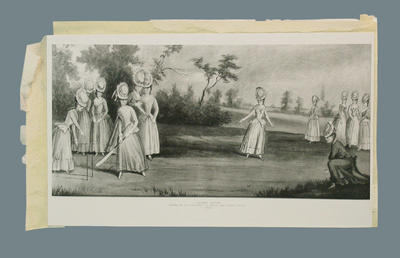 "Photograph of a watercolour painting, ""Cricket match played by the Countess of Derby and other ladies"""