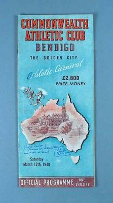 Programme, Bendigo Athletic Carnival 1949