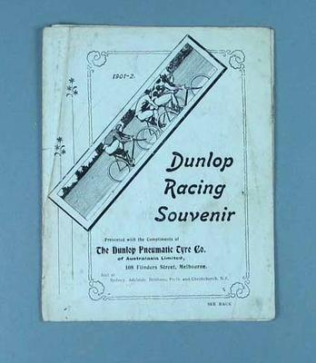 Leaflet - Dunlop Racing Souvenir 1901-2,  with athlete portraits