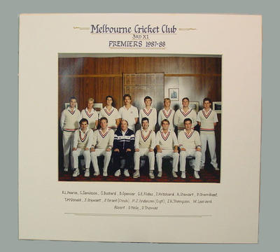 Photograph of Melbourne Cricket Club 3rd XI, Premiers 1987-88; Photography; M2423.2
