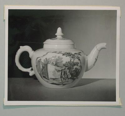 Photograph of teapot on display at Victoria & Albert Museum, London