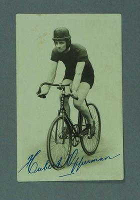 Postcard photograph of Hubert Opperman, in racing gear