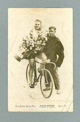 Black and white postcard of cyclist Willie Spencer,  Champion of America