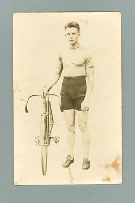 Black and white postcard of cyclist Harris Horder