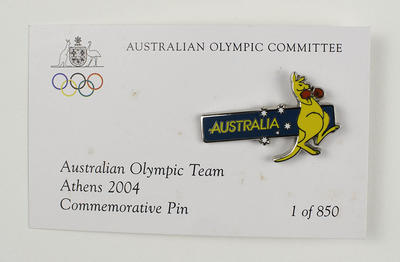 Australian team commemorative pin issued to team members, Athens 2004 Olympic Games