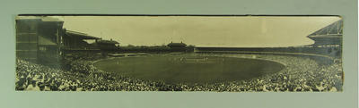 Panoramic photograph of Australia v England Test match, 27 February 1937