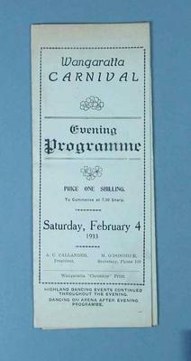 Programme, Wangaratta Athletics Carnival 1933