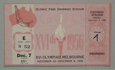 1956 Olympic Games swimming events ticket, 7 Dec