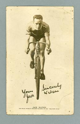 Black and white inscribed postcard of cyclist Jack Watson.