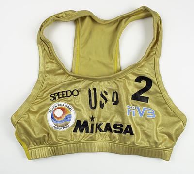 Metallic gold World Tour beach volleyball top worn by Misty May, circa 2000