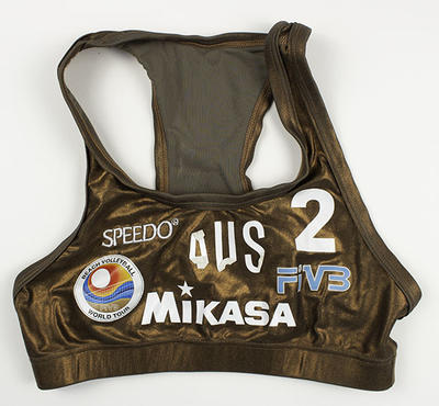 Metallic bronze World Tour beach volleyball top worn by Kerri Pottharst, circa 2000