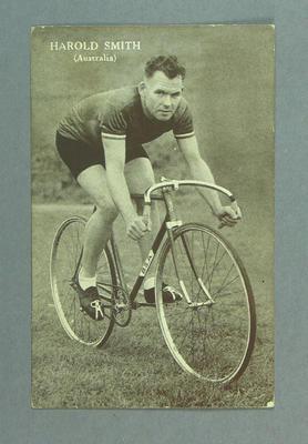 Postcard, black and white - cyclist Harold Smith