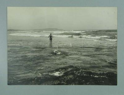 Photograph of Frank Beaurepaire at a beach, in bathing costume