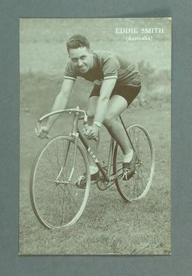 Postcard, black and white - cyclist Eddie Smith