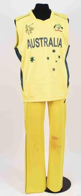 Australia vest and trousers worn by Josh Hazlewood, 2015 Cricket World Cup; Clothing or accessories; M16921.17